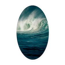 Wind-blown wave breaking in Hawaii Oval Car Magnet
