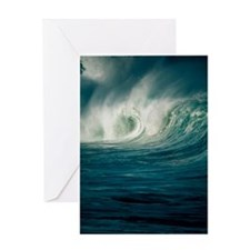 Wind-blown wave breaking in Hawaii Greeting Card