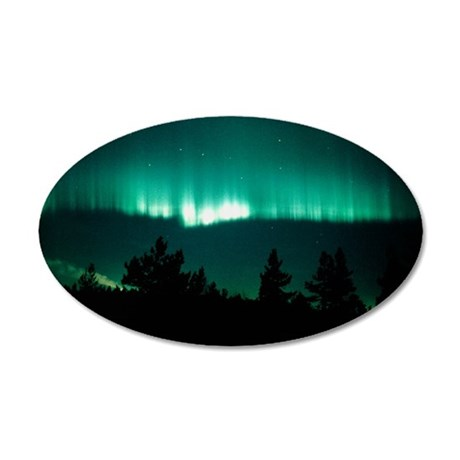 View of an aurora borealis d 35x21 Oval Wall Decal