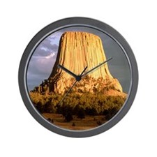 View of Devil's Tower, a basalt outcrop Wall Clock