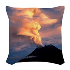 Tunguragua volcano Woven Throw Pillow