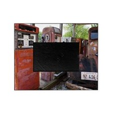 Rusty gas pumps and car Picture Frame