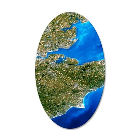 True-colour satellite image  35x21 Oval Wall Decal
