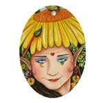 The Elf Artist Oval Ornament