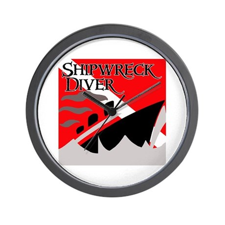 Shipwreck Diver Flag Wall Clock