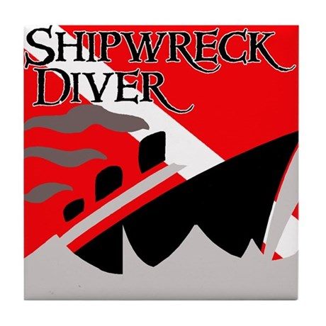 Shipwreck Diver Flag Tile Coaster