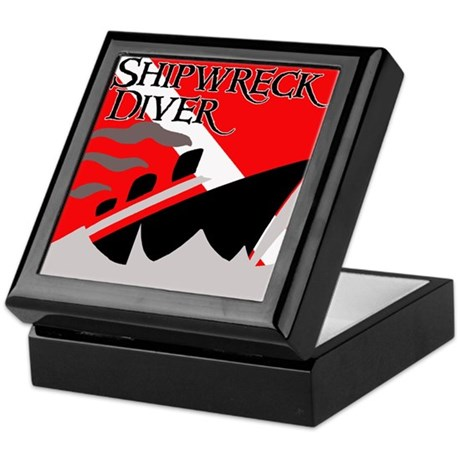 Shipwreck Diver Flag Keepsake Box