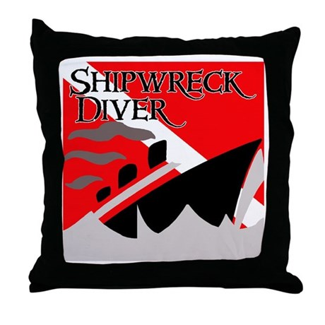 Shipwreck Diver Flag Throw Pillow