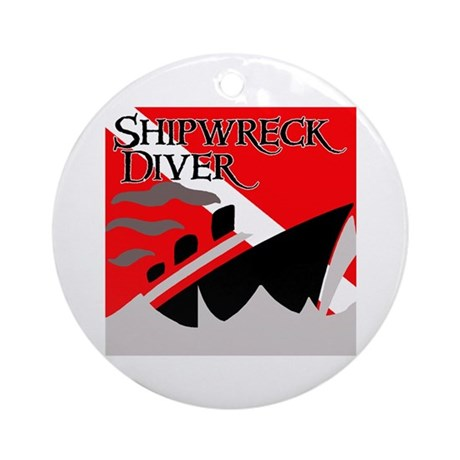 Shipwreck Diver Flag Ornament (Round)
