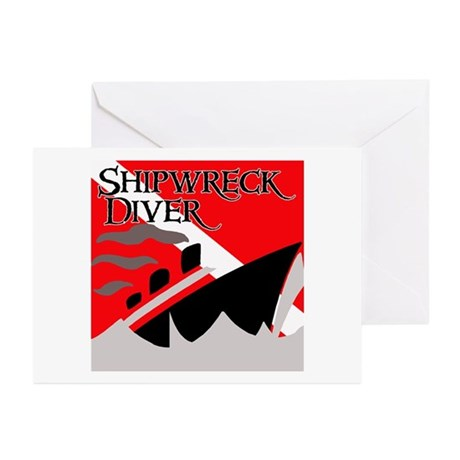 Shipwreck Diver Flag Greeting Cards (Pk of 10)