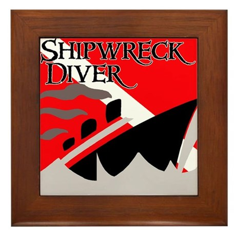 Shipwreck Diver Flag Framed Tile