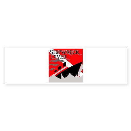 Shipwreck Diver Flag Bumper Sticker