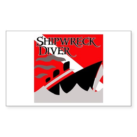 Shipwreck Diver Flag Rectangle Sticker