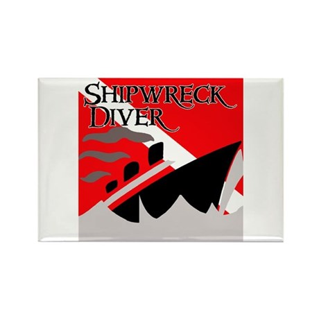 Shipwreck Diver Flag Rectangle Magnet (100 pack)
