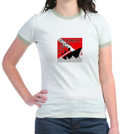 Shipwreck Diver Flag Jr. Ringer T-Shirt