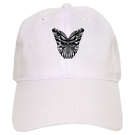 Black and White Butterfly Wings Cap
