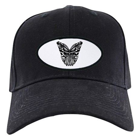 Black and White Butterfly Wings Black Cap