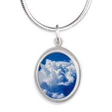 Thunderstorm cloud Silver Oval Necklace