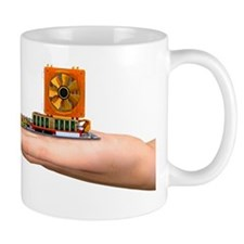 Hand with computer motherboard, artwork Mug