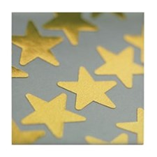 Gold star stickers Tile Coaster