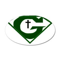 GOD POWERED SHEILD green 35x21 Oval Wall Decal