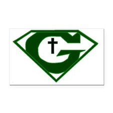 GOD POWERED SHEILD green Rectangle Car Magnet