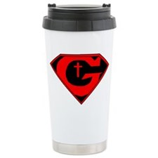 GOD POWERED SHEILD R/B/W Ceramic Travel Mug