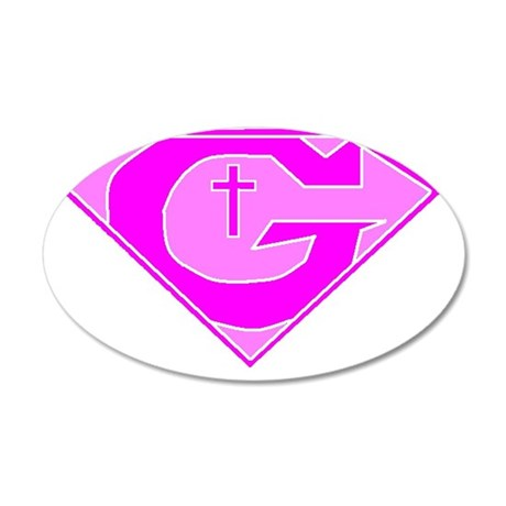 GOD POWERED SHEILD Pink 35x21 Oval Wall Decal
