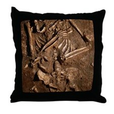 Neanderthal skeleton, Kebara Cave, Is Throw Pillow