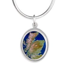 Satellite image of Scotland Silver Oval Necklace