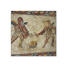 "Roman mosaic of gladiators Square Sticker 3"" x 3"""