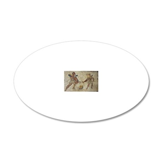 Roman mosaic of gladiators 20x12 Oval Wall Decal