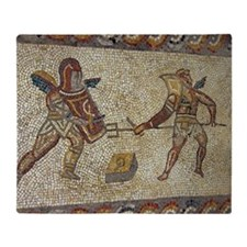 Roman mosaic of gladiators Throw Blanket