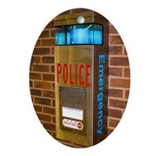 Police emergency telephone in Illino Oval Ornament