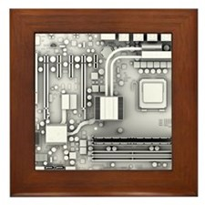 Computer motherboard, artwork Framed Tile