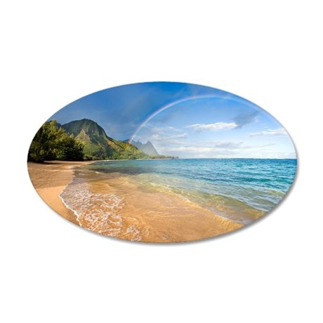 rainbow kauai 35x21 Oval Wall Decal
