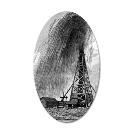 Oil well, 19th century 35x21 Oval Wall Decal