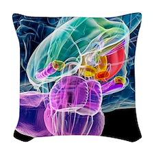 Brain anatomy, artwork Woven Throw Pillow