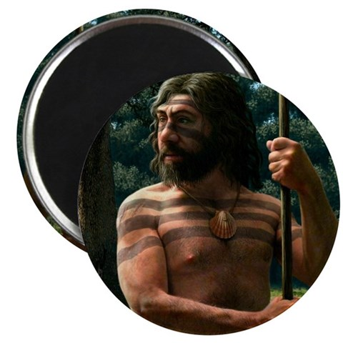 Neanderthal with shell ornament, artwork Magnet