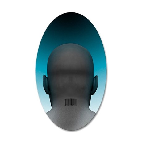 Barcoded man, artwork 35x21 Oval Wall Decal