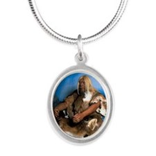 Model of a neanderthal man Silver Oval Necklace