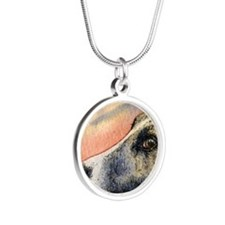 Brindle whippet greyhound do Silver Round Necklace