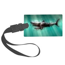 Megalodon shark and great white Luggage Tag