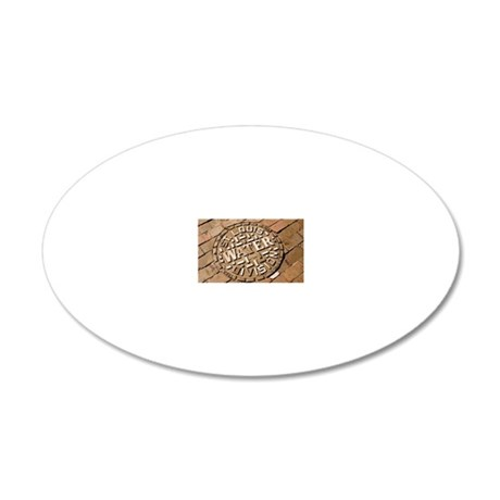 Manhole cover in St Louis 20x12 Oval Wall Decal