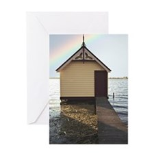 Boat shed with rainbow in sky Greeting Card