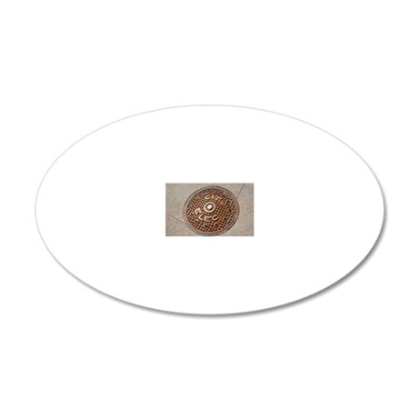 Manhole cover in Chicago 20x12 Oval Wall Decal