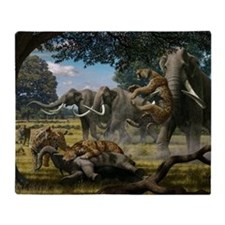 Mammoths and sabre-tooth cats, artwo Throw Blanket