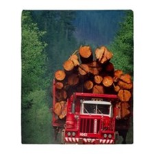 Logging truck loaded with logs Throw Blanket