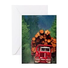 Logging truck loaded with logs Greeting Card