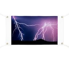 Lightning strikes at night, New Mexico Banner